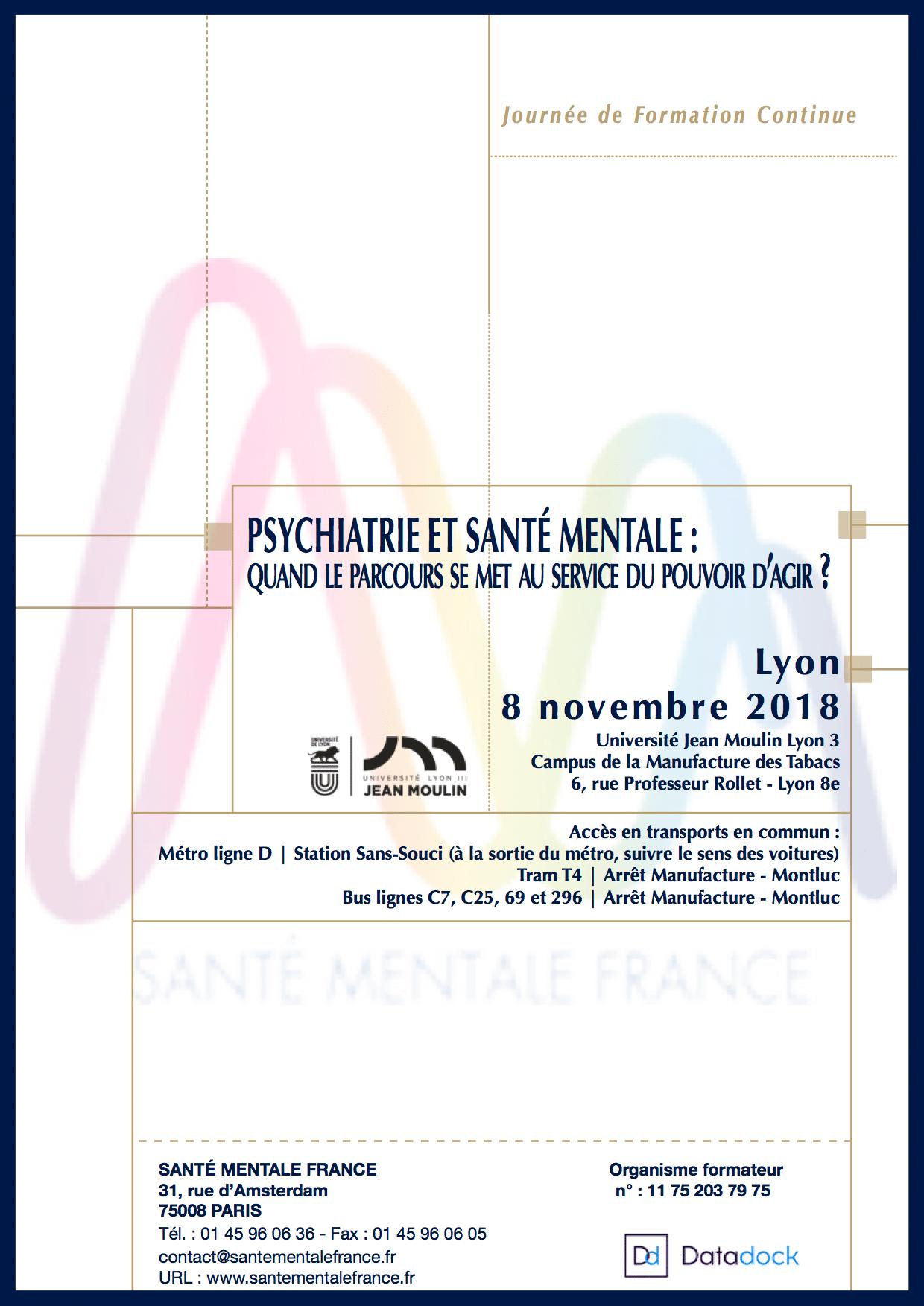 Santé Mentale France : Journées de formation continue du 8 novembre 2018 à Lyon