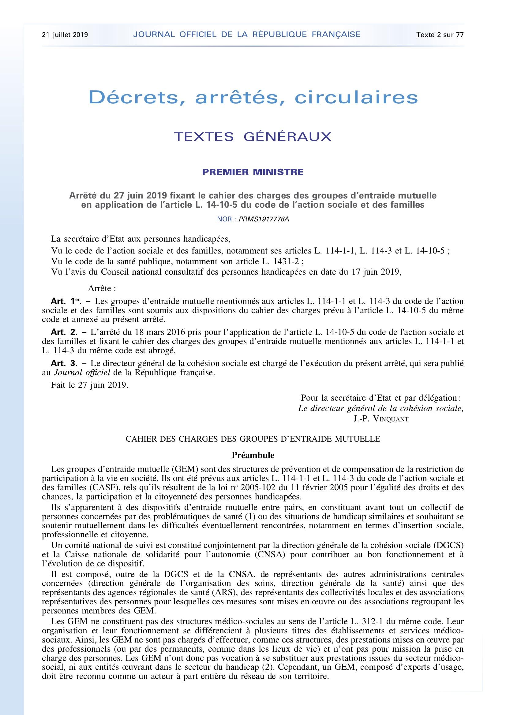 Le nouveau cahier des charges des Groupes d'Entraide Mutuelle (GEM) est paru au journal officiel du 21 juillet 2019