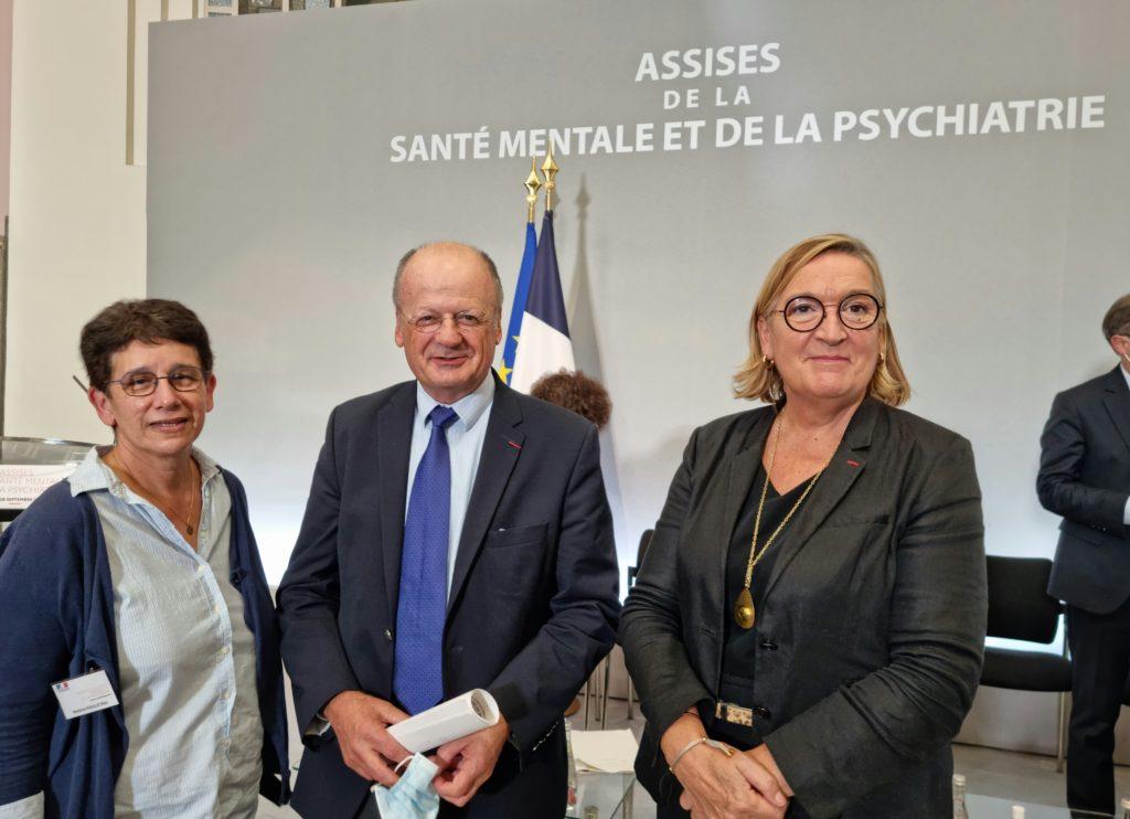 Elsa Riaille Vice-Présidente du CNIGEM,  Denis Leguay Président de Santé Mentale France Claire Compagnon déléguée Ministérielle à  l'autisme